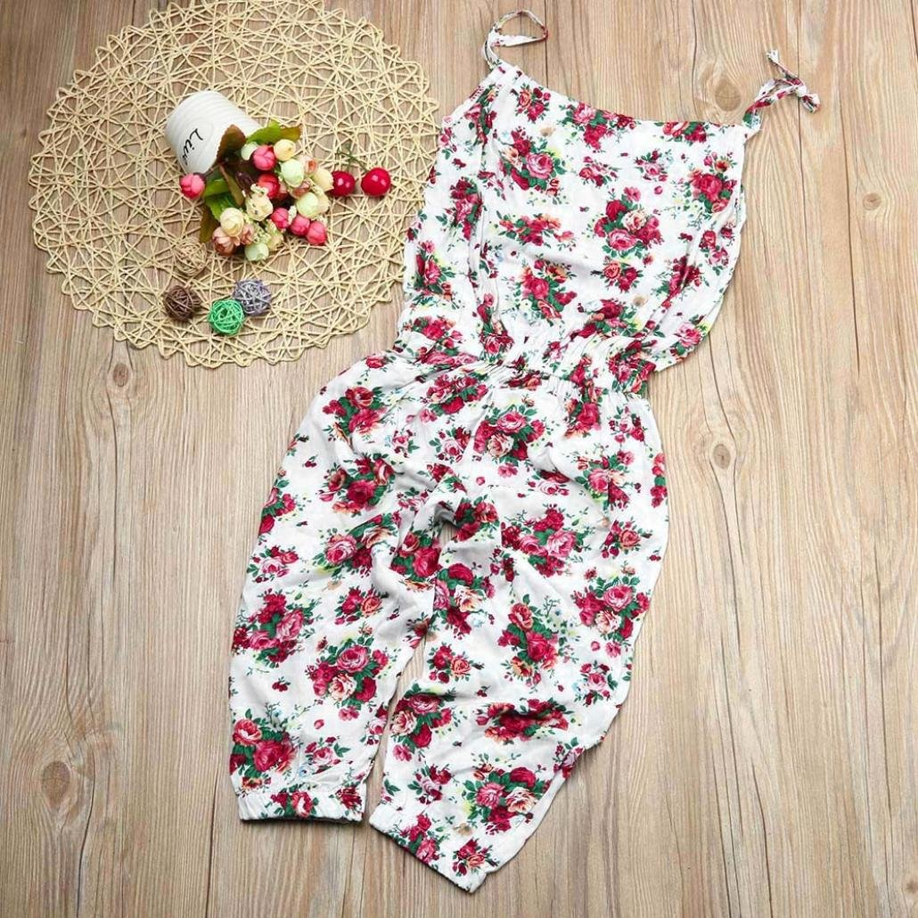 Baby Girls Summer Floral Romper 1-6 Years Toddler Kids Belt Jumpsuit Outfits with Flowers Printed Clothes Set Transer Girls Jumpsuit Playsuits