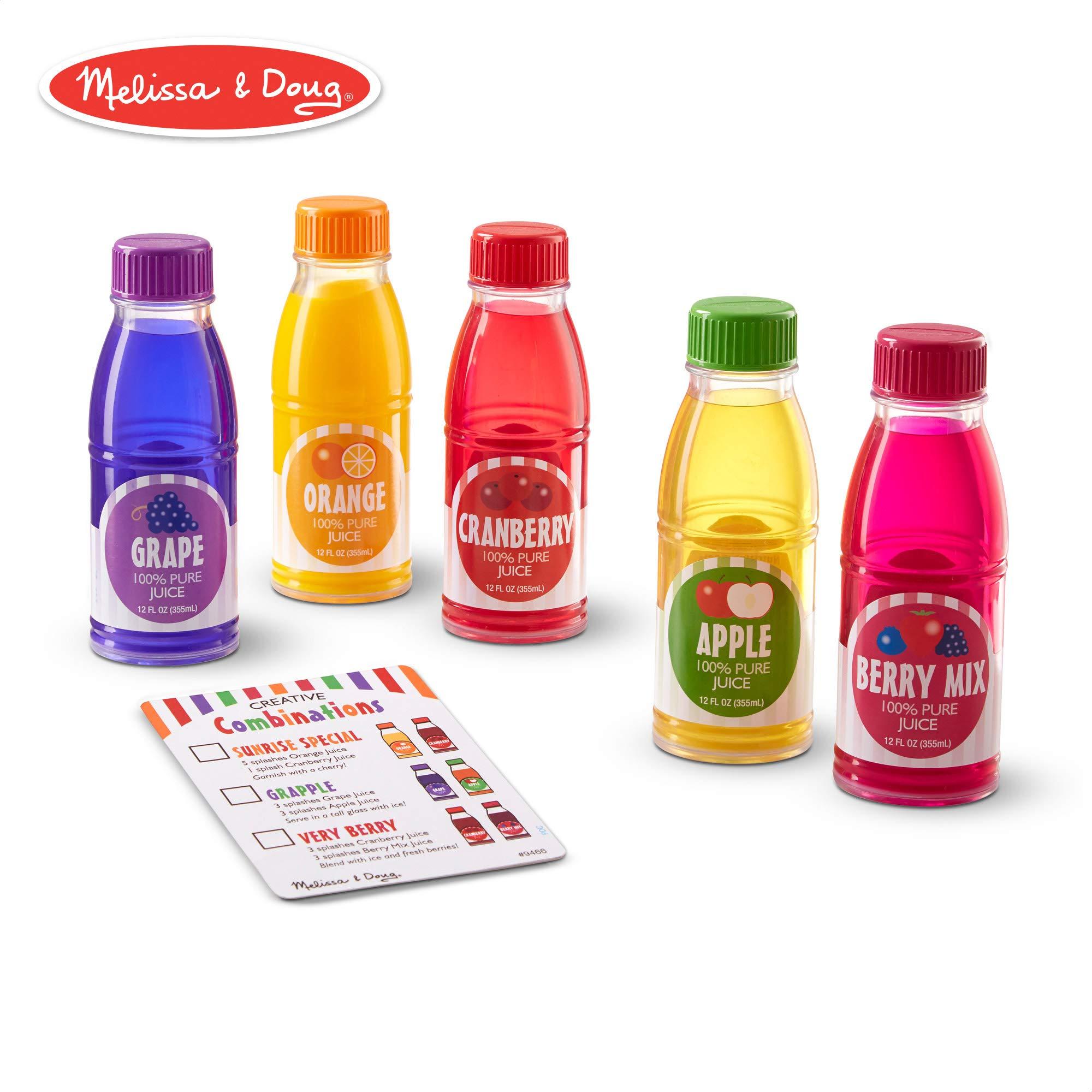 Melissa & Doug Tip & Sip Toy Juice Bottles (Play Food Set, 6 Pieces)