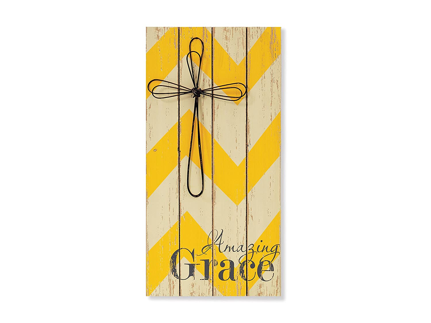 Amazon.com: Large Amazing Grace Wooden Wall Decor with Metal Cross ...