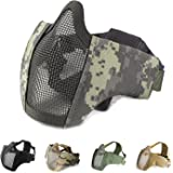 """Foldable 6"""" Half Face Lower Mask Mesh Adjustable Tactical Mask and Goggles Set for Airsoft/Hunting/Paintball/Shooting"""