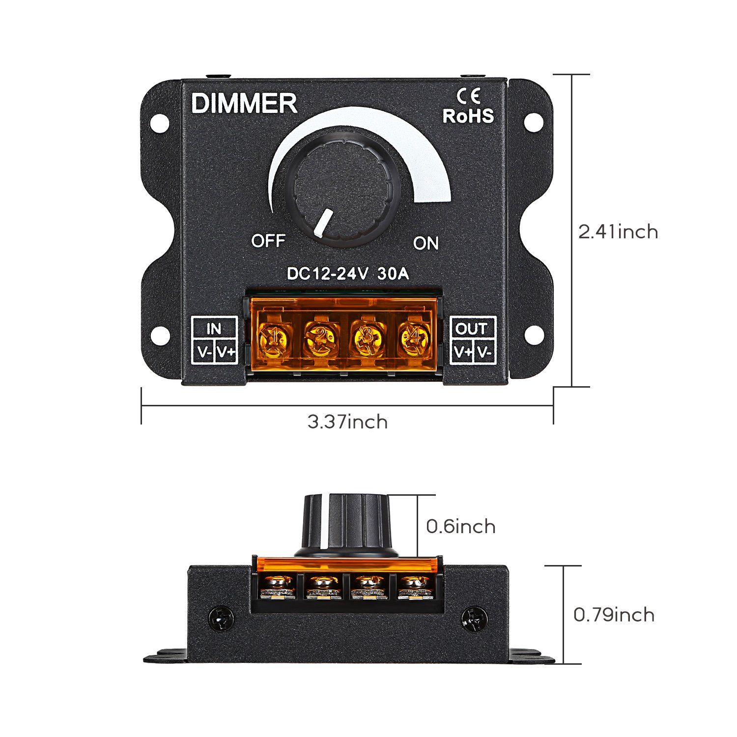 TORCHSTAR PWM Dimming Controller for LED Strip Light, DC 12V - 24V Dimmer Knob ON/OFF Switch with Aluminum Housing, Single Channel 30A 5050 3538 5630 Single Color Light Ribbon by TORCHSTAR (Image #6)