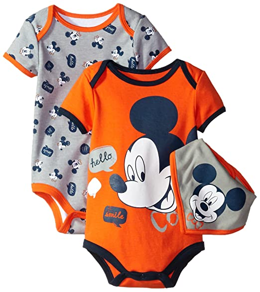 f913eaa4221 Amazon.com: Disney Baby Boys' Mickey Mouse or Donald Duck 2-Pack Bodysuit  with Bib: Clothing