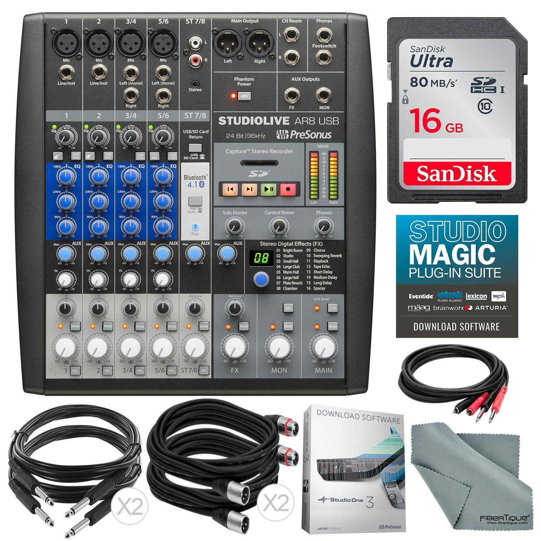 PreSonus StudioLive AR8 USB 8-Channel hybrid Performance and Recording Mixer and Accessory Bundle w/ 16GB + Cables + Fibertique Cloth