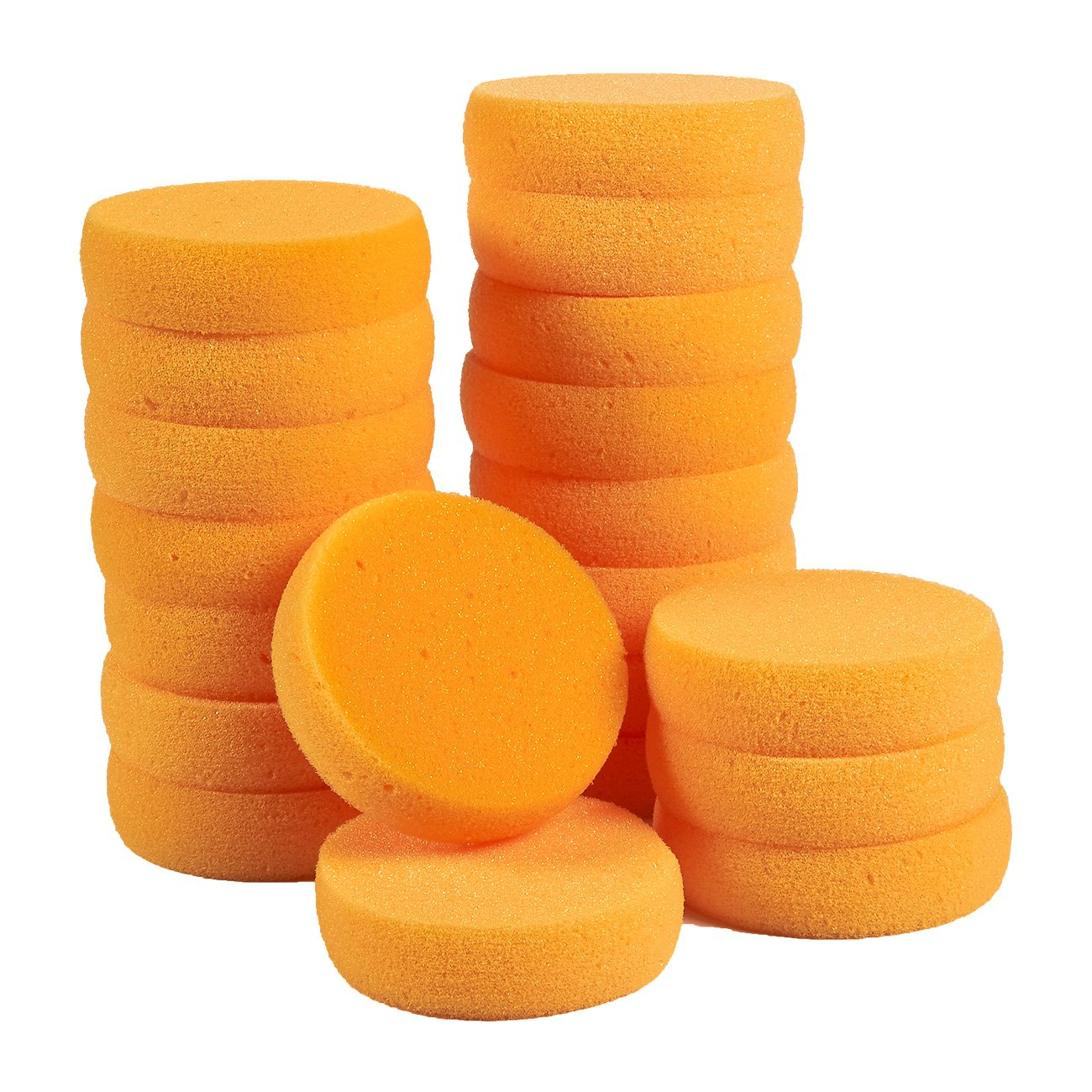 Pack of 20 Synthetic Sponges - Round Craft Sponges - Ideal for Painting, Face Painting, Crafts, Pottery, Clay, Household Use, 3.5 x 1 x 3.5 inches, Orange