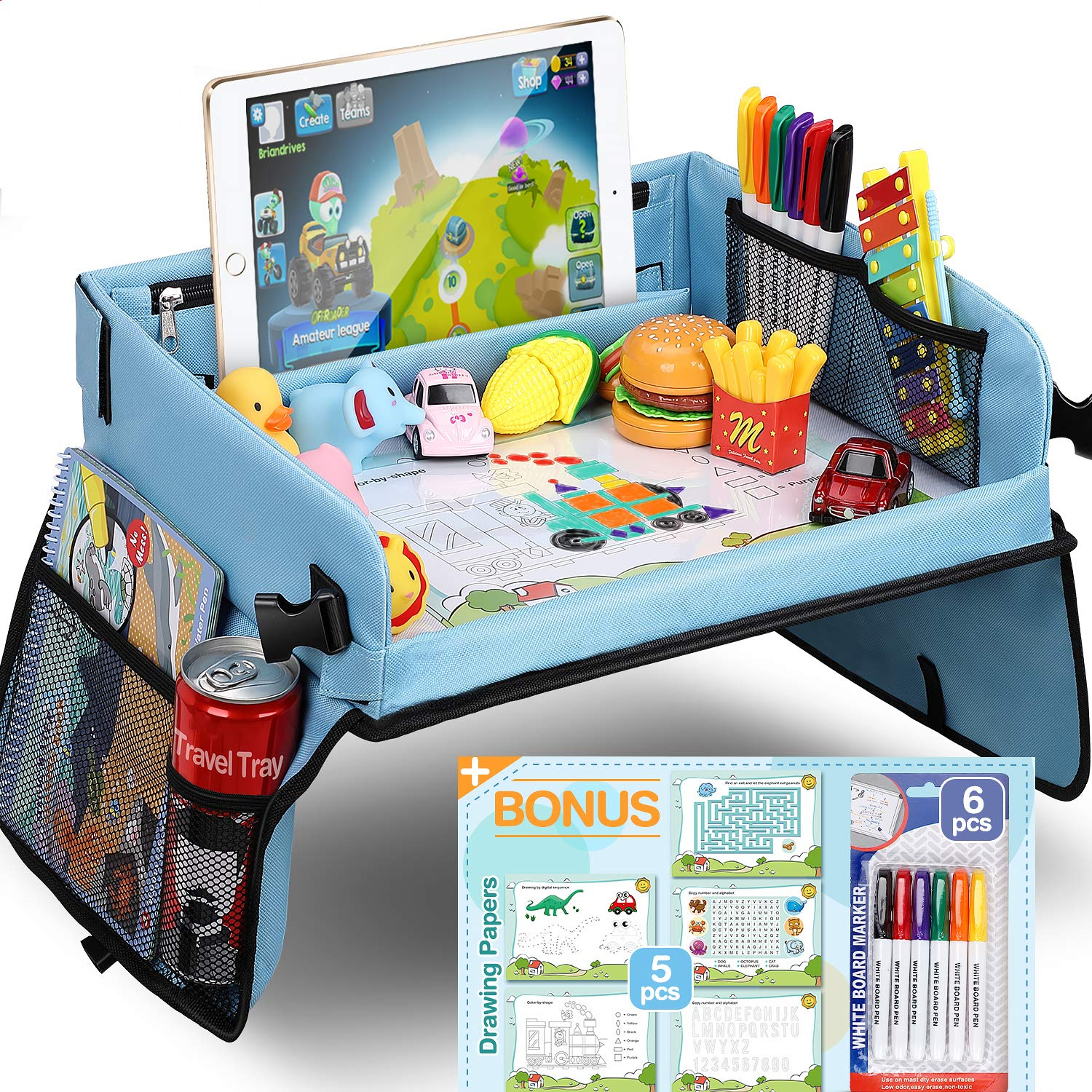 Waterproof Tablet Holder DMoose Toddler Car Seat Travel Tray Strong Buckles Reinforced Surface Sturdy Base /& Side Walls 16 x 14 Toy Organizer Crayon Organizer Mesh Pockets