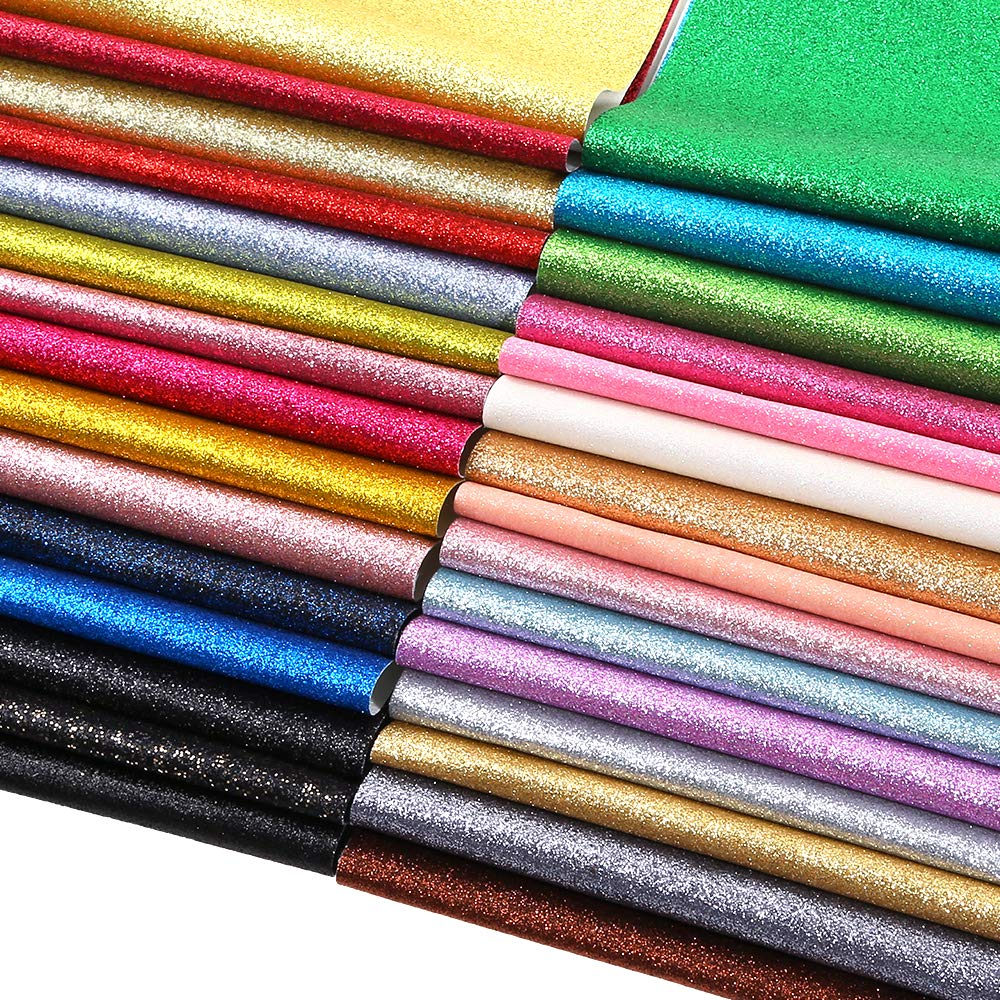 Caydo 30 Colors Shiny Superfine Glitter Fabric, PU Leather Fabric Sheets Canvas Back for Craft DIY, Hair Clips Making, Hat Making 12.6 x 8.6 Inch (32 x 22 cm) by Caydo (Image #3)