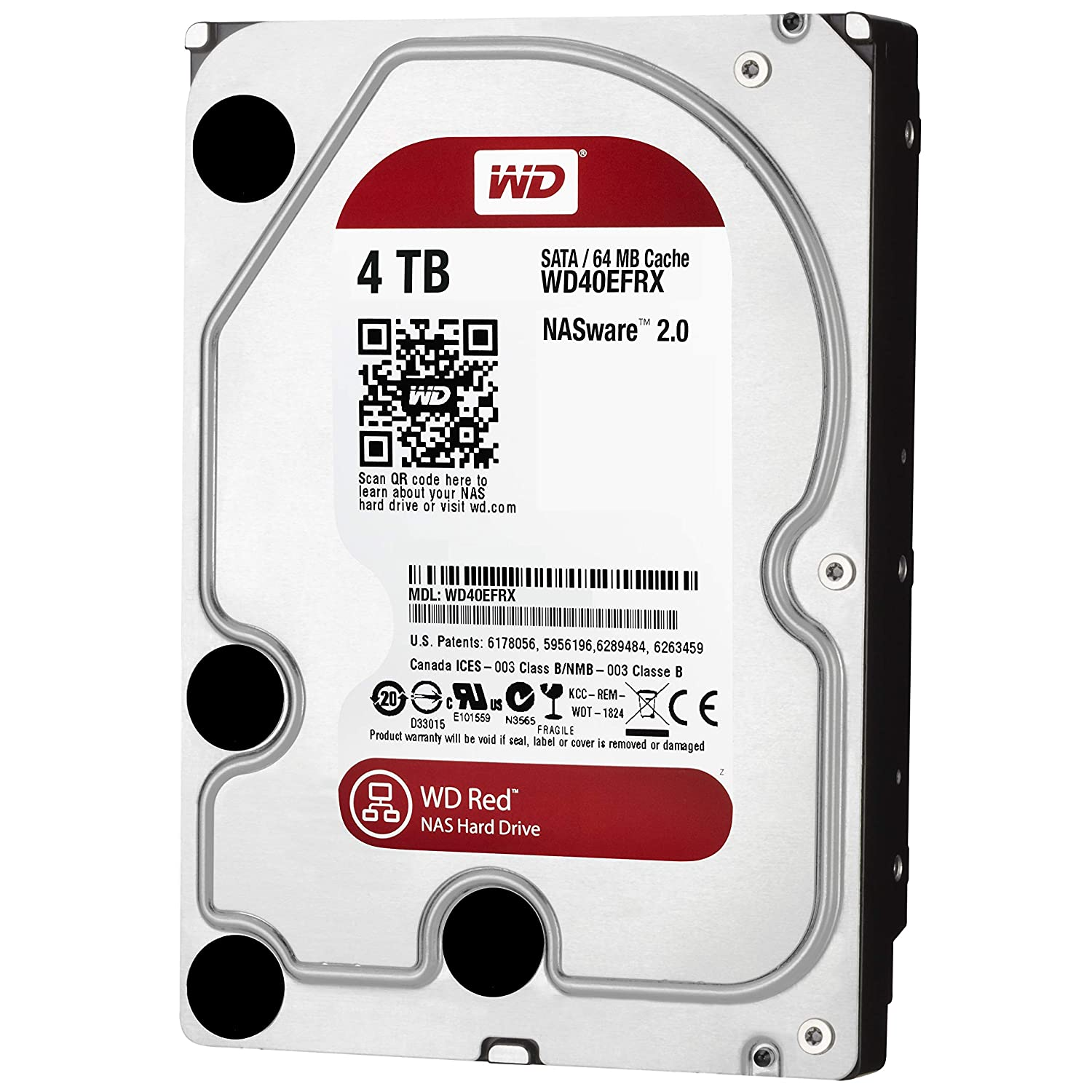 WD Digital - Disco duro para dispositivos NAS de sobremesa de 4 TB (Intellipower, SATA a 6 Gb/s, 64 MB de caché , 3,5') rojo Western-Digital 64 MB de caché 5) rojo Western Digital WD40EFRX