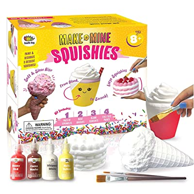 Arts and Crafts for Girls. DIY Dessert Paint Your Own Squishies Kit! Gifts for Craft Lovers ages 4 6 7 8 9 10 Top Christmas 2020 Toys. Box Includes Large Slow Rise Squishies, and Fabric Paint Colors: Office Products