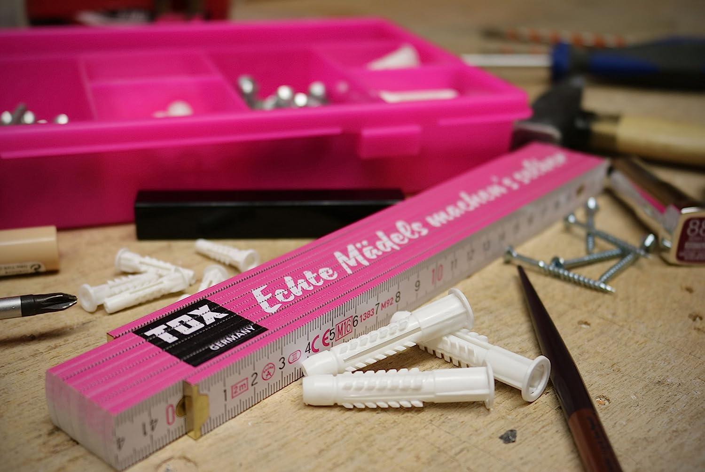 con impresi/ón: Echte M/ädels Machen/´S Selber Regla Plegable para Mujer de Potencia Real 09969002 1 Pieza Color Rosa y Blanco TOX 2 Metros