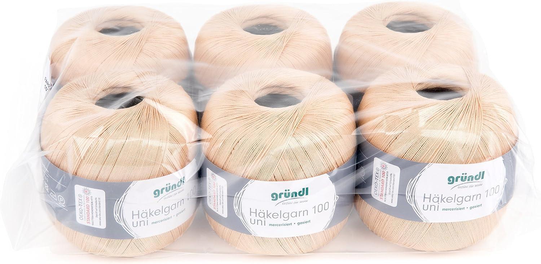 30 x 21 x 11 cm Gr/ündl Vorteilspack H/äkelgarn Creme Baumwolle 6 St/ück