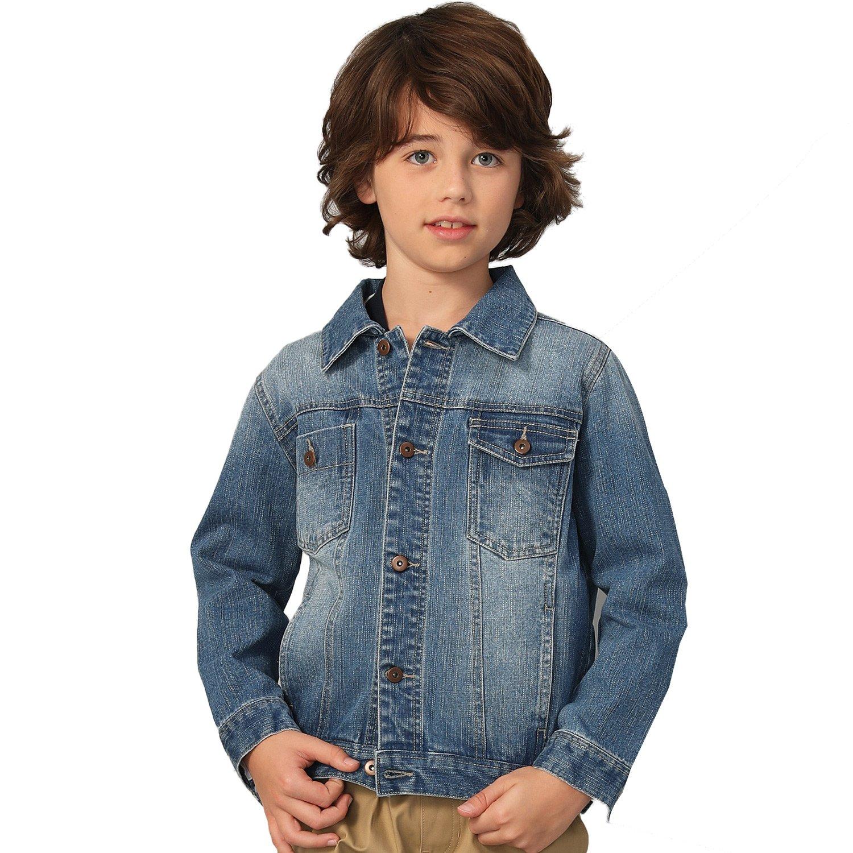 Leo&Lily Big Boys' Denim Jacket, Light Blue, 12