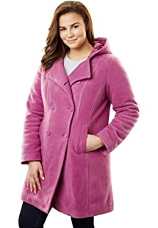 78dfa4216ca Woman Within Women s Plus Size Double-Breasted Hooded Fleece Peacoat