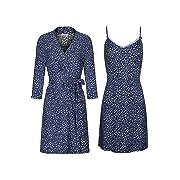 SofiePJ Women's Printed Sleepwear Chemise and Robe 2PC Set Dark Blue L(504347)