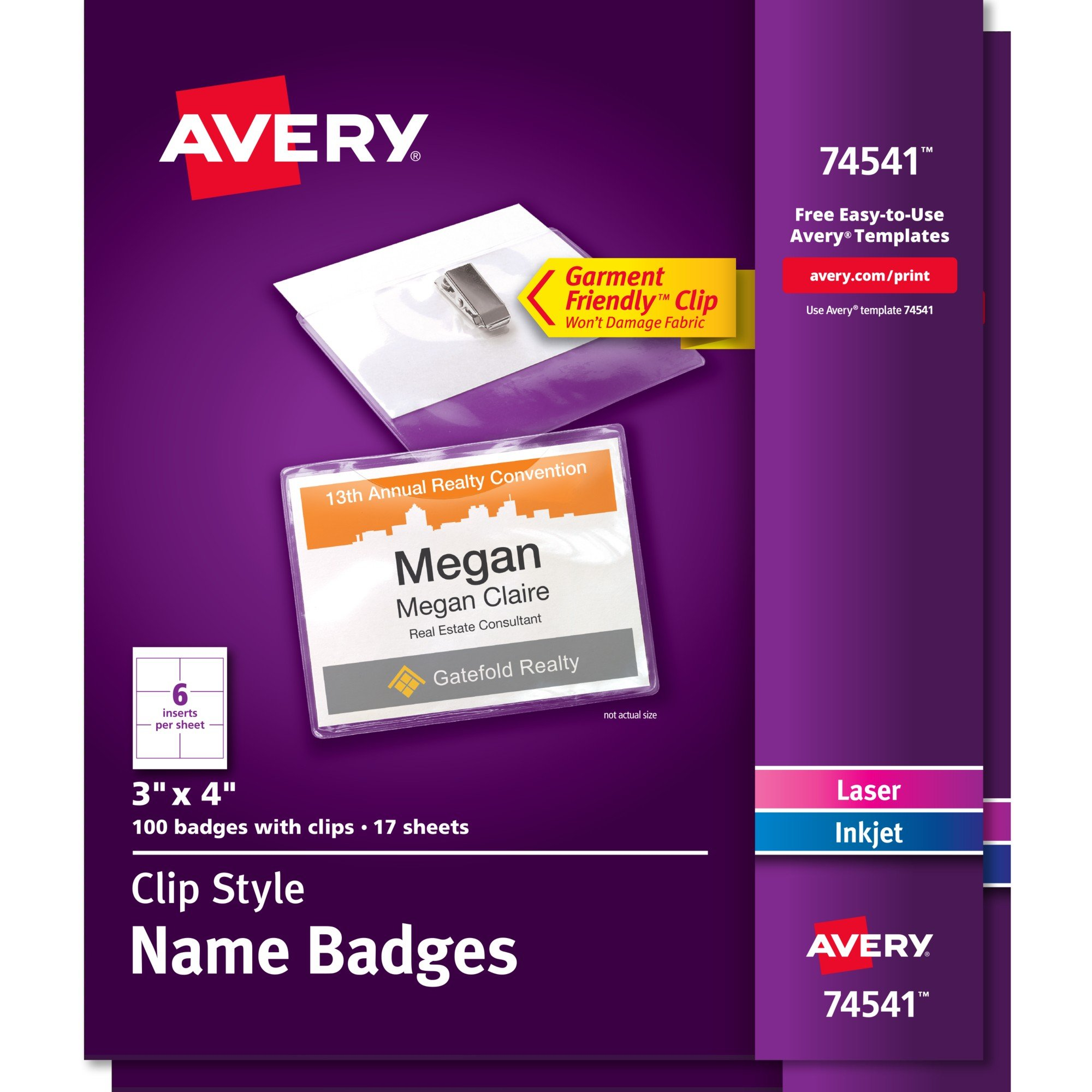 Avery Top-Loading Garment-Friendly Clip-Style Name Badges, 3'' x 4'', 100 Badges, Pack of 2 (74541)
