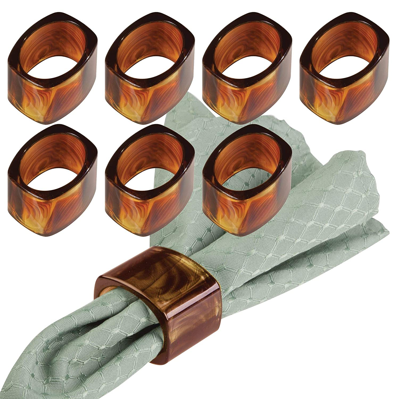 mDesign Napkin Rings for Home, Kitchen, Dining Room Table - Pack of 8, Black MetroDecor 3343MDK