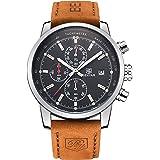 BENYAR Men Watch Chronograph Fashion Sport 3ATM Waterproof Casual Brown Leather Wrist Watch