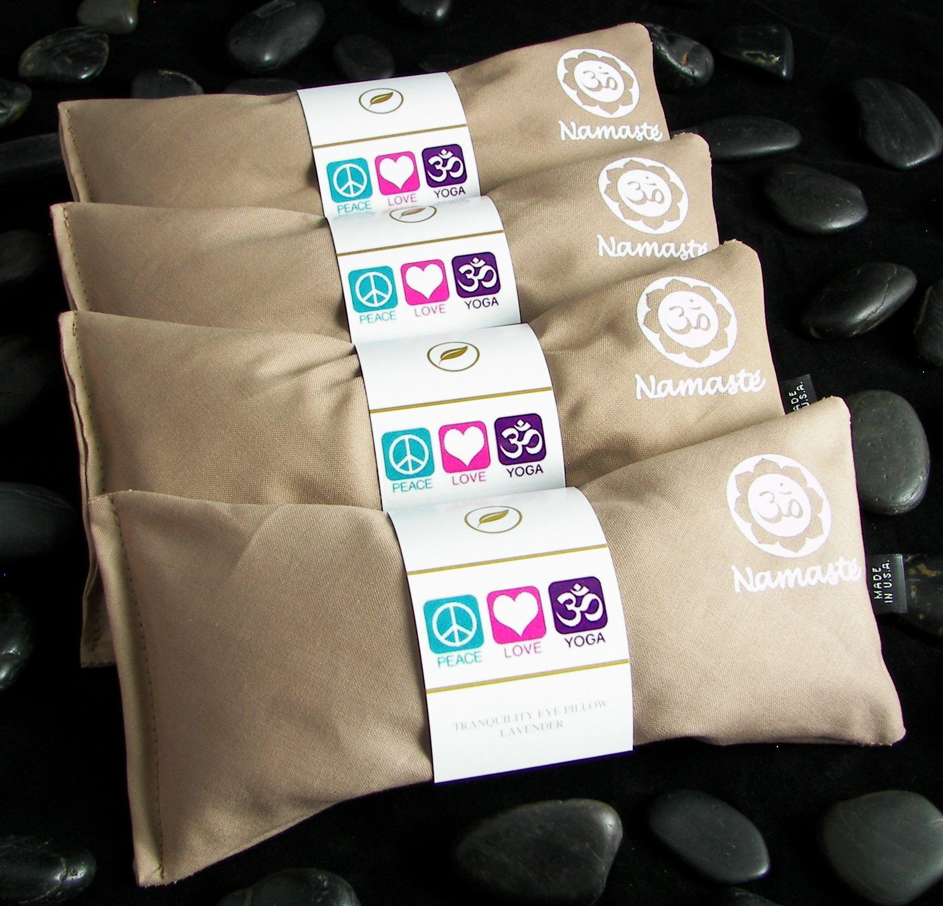 Happy Wraps Namaste Yoga Eye Pillows - Unscented Eye Pillows for Yoga - Set of 4 - Tan Cotton by Happy Wraps