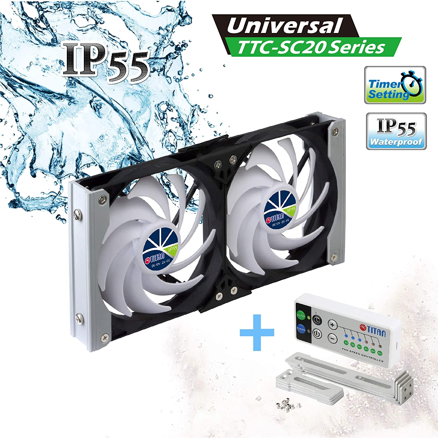 TITAN- 12V DC IP55 Waterproof Double Rack Mount Ventilation Cooling Fan with Timer and Speed Controller- TTC-SC20 (90mm)