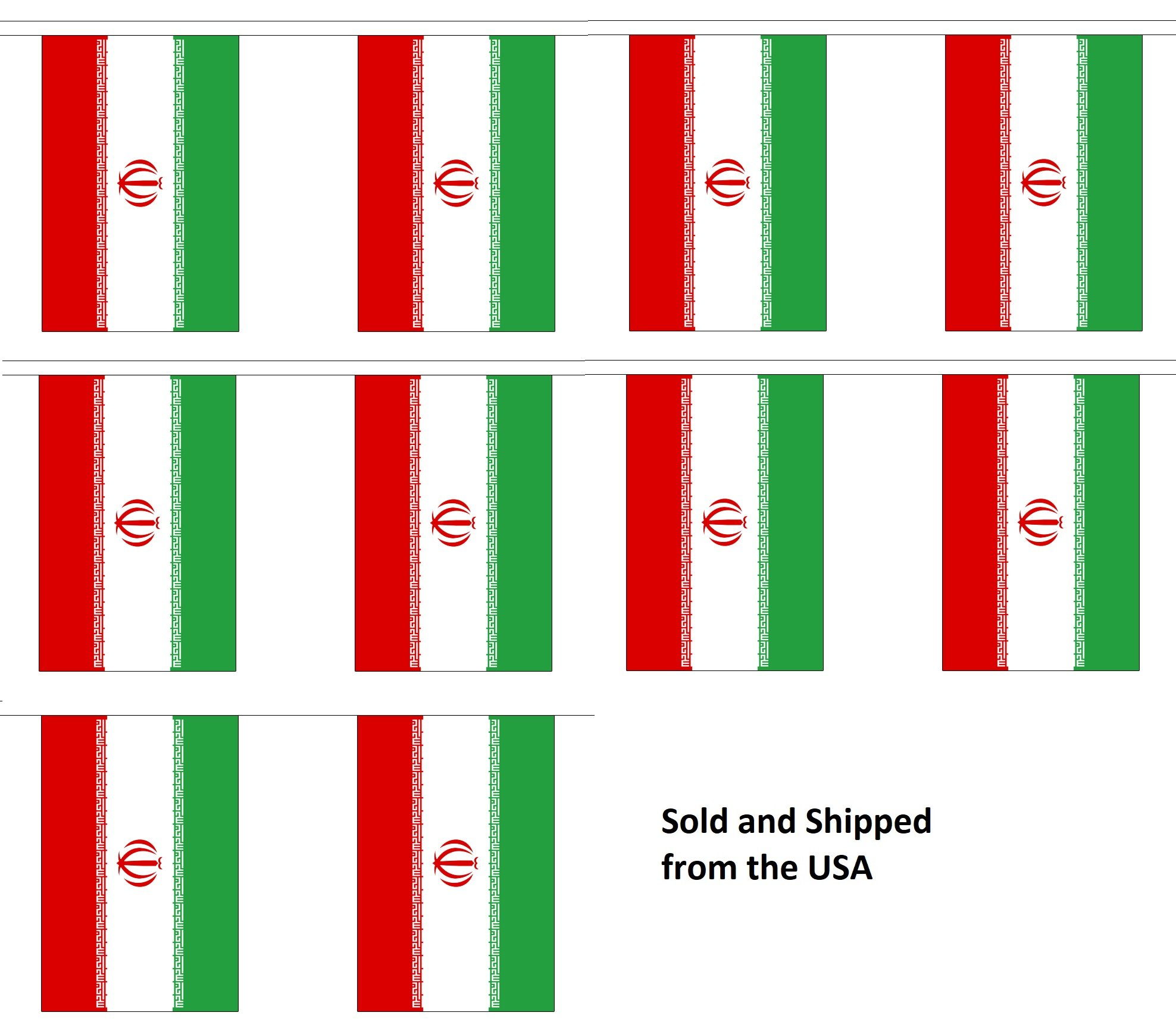 30' Iran String Flag Party Bunting Has 30 Iranian 6''x9'' Polyester Banner Flags Attached, Popular For School Classroom, Special Events, Bars, Restaurants, Country Theme Parties