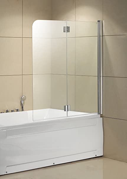 Mfyo 55x49 Bath Shower Door Tub Screen Aluminum Frameless Hinged 1