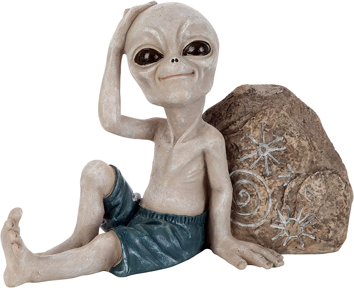 Design Toscano LY612243 Surfer Dude Out-of-This-World Alien Statue, Small-Chilling, Full Color