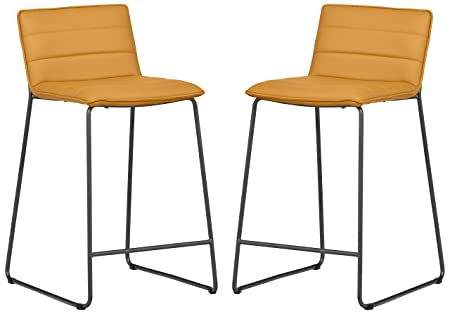 Rivet Julian 2-Pack Minimalist Tufted Counter Stools, 34.3 H, Yellow