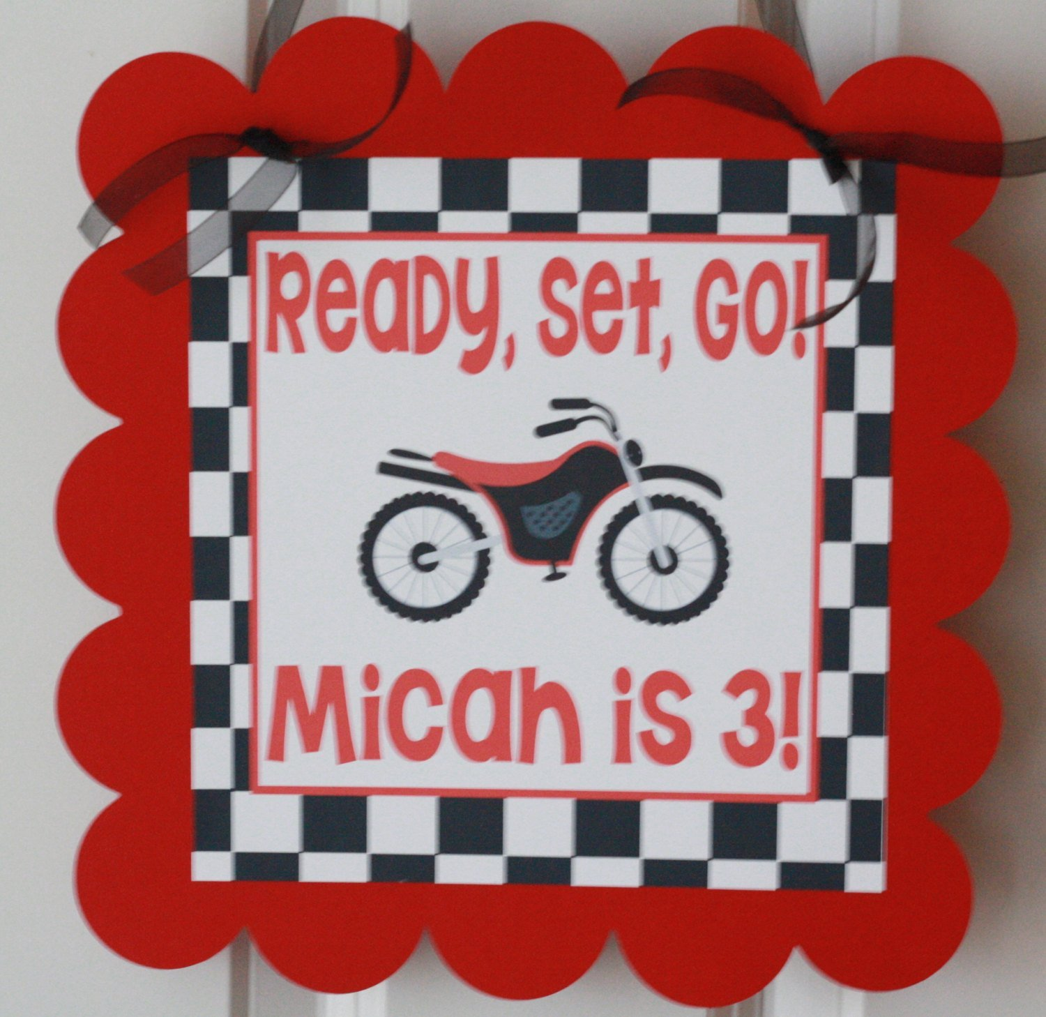 Amazon.com: 12 - Red Black Checkered Flag Motorcycle Motocross Dirt ...