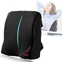 Comfom Lumbar Support Pillow for Office Chair & Car Seat - Wide Soft Home Comfort Memory Foam Cushion with Straps & Washable Cover - Lower Back Pain Relief Ergonomic Orthopedic Design (Black)