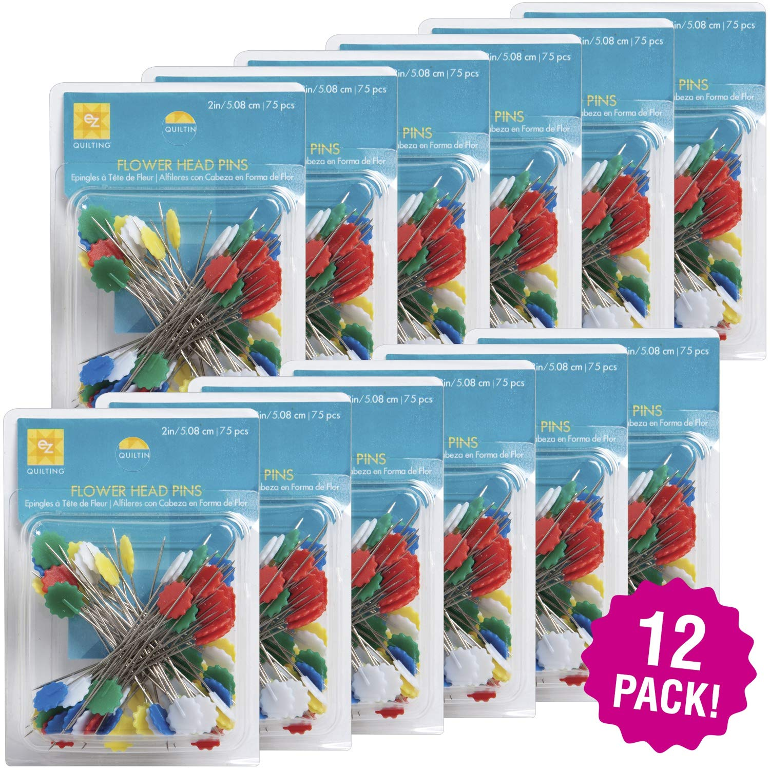 EZ Quilting 96879 Flower Head Pins 12/Pk 32-75 Count, Multipack, Size 32 75pcs Pack by EZQuilting