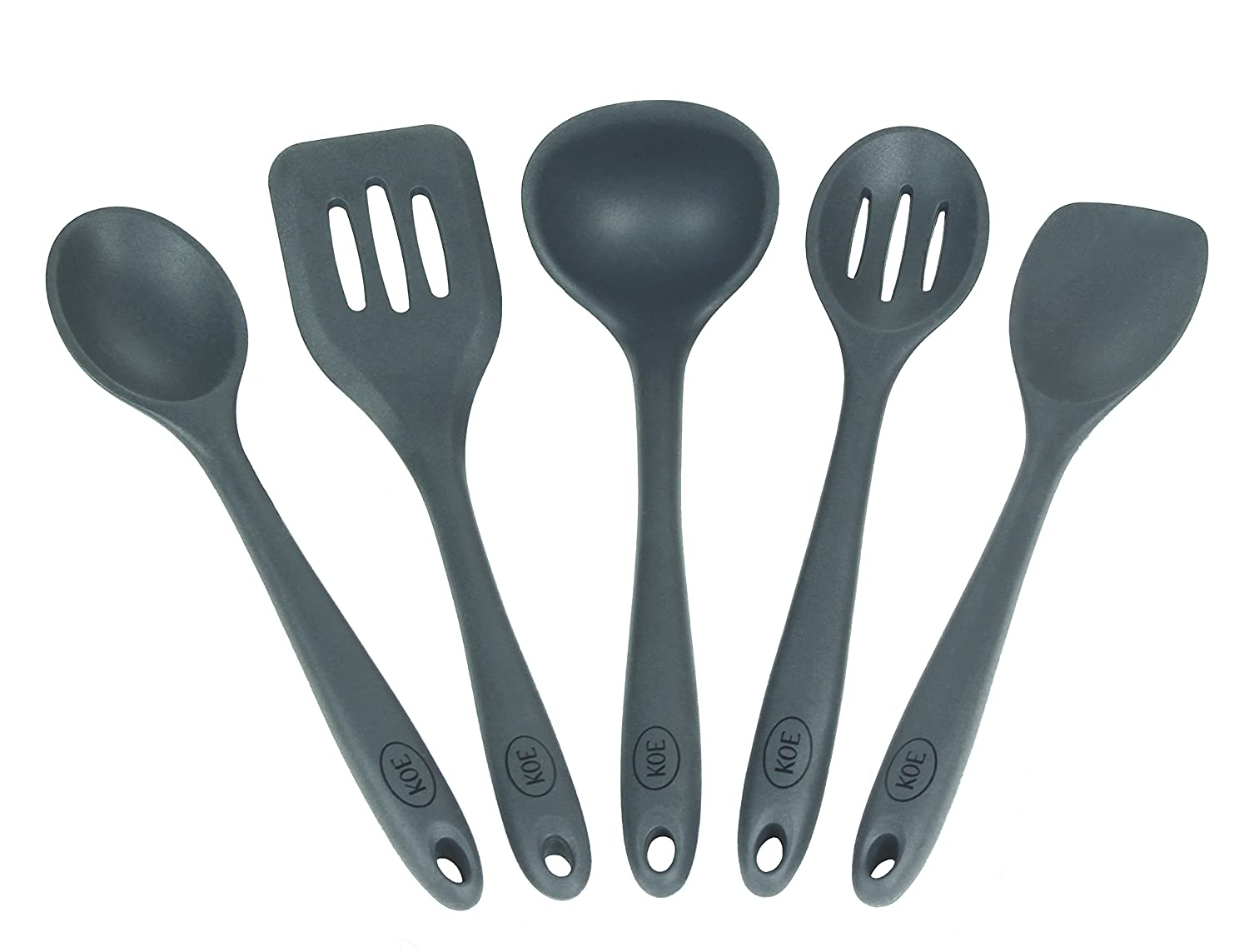 Amazon.com: Koe Premium 5 Piece Silicone Kitchen Utensil Set, Non ...