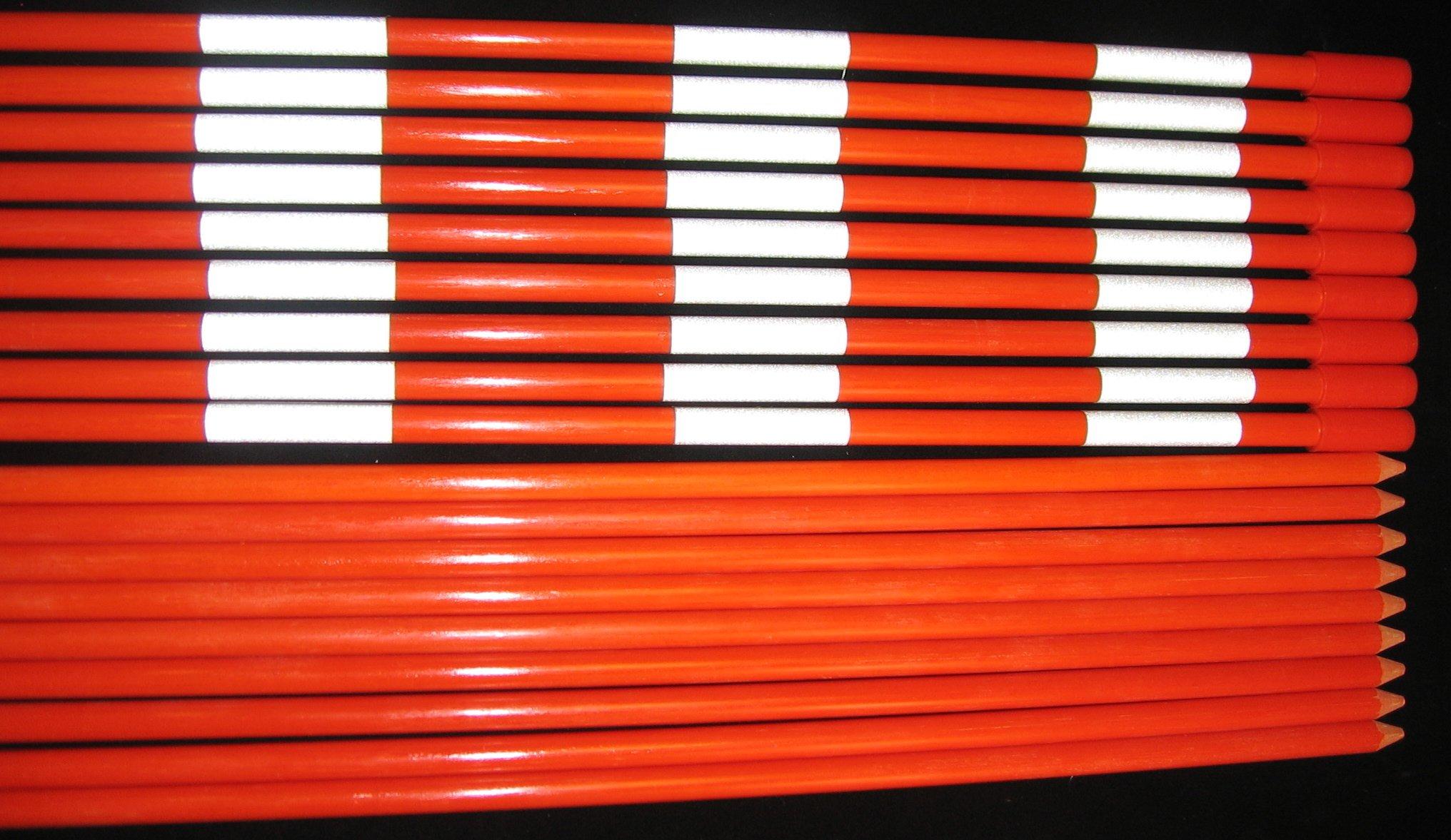 (72 each) 60'' x (5/16 dia.) X3 Optic Orange Reflective Fiberglass Driveway Markers. 1 case of 72 markers.