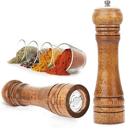 Molinillo de sal y pimienta de madera, juego de molinillo de sal y pimienta con tornillo giratorio ajustable para cocina, camping, restaurante y ...
