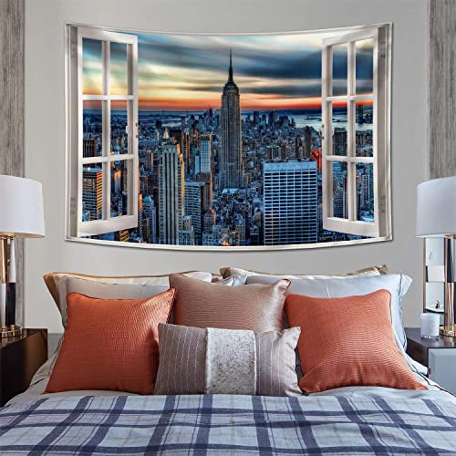 BOOPBEEP Bedroom Wall Hanging Tapestry, New York City Windows 3D Tapestries with Soft No-fading Lightweight HD Prints Color Vibrant Use for Dorm Room, Livingroom Decor 90x60IN, New York