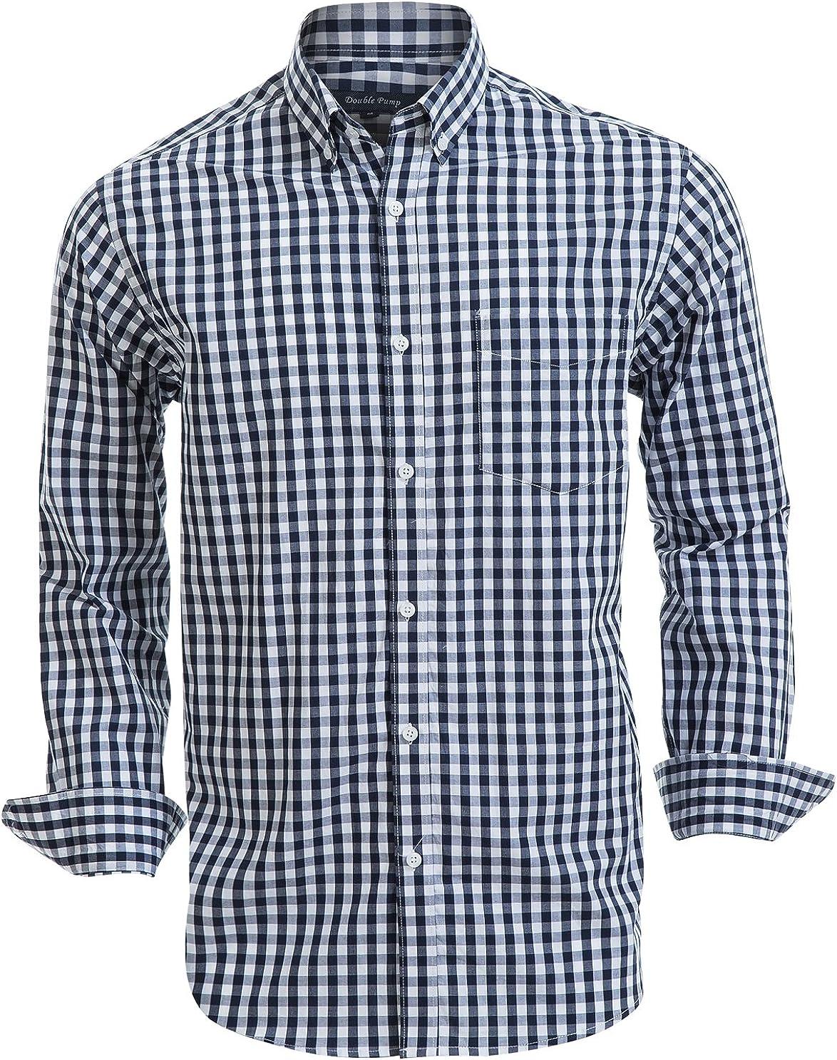 YYear Mens Regular Fit Stitching Casual Long Sleeve Plaid Print Button Down Shirt