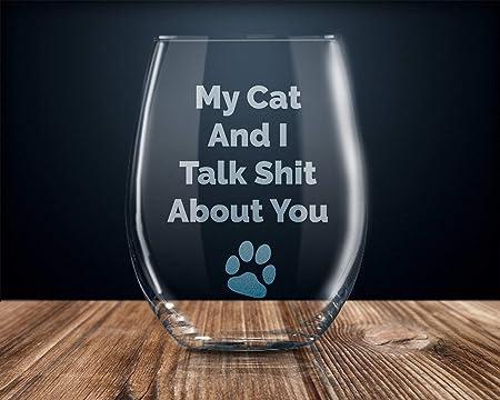 Regalo para amantes de los gatos, regalo para la mamá del gato, copa de vino divertida, copa de vino sin tallo, regalo sarcástico para dueños de gatos, regalo de cumpleaños para mujeres: