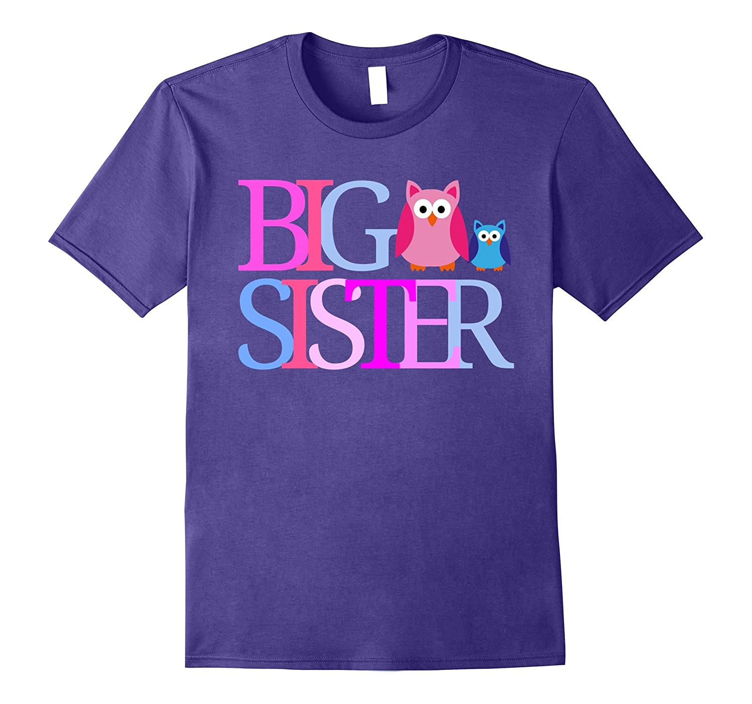 BIG SISTER T Shirt Cute Owls Tee Going To Be A Big Sister-FL