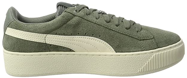 Womens Vikky Platform D Trainers, Agave Green-Metallic Gold-Whisper White Puma