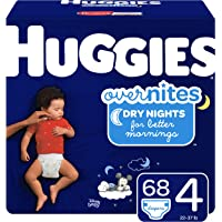 HUGGIES OverNites Diapers, Size 4, 68 Count, Overnight Diapers (Packaging May Vary)
