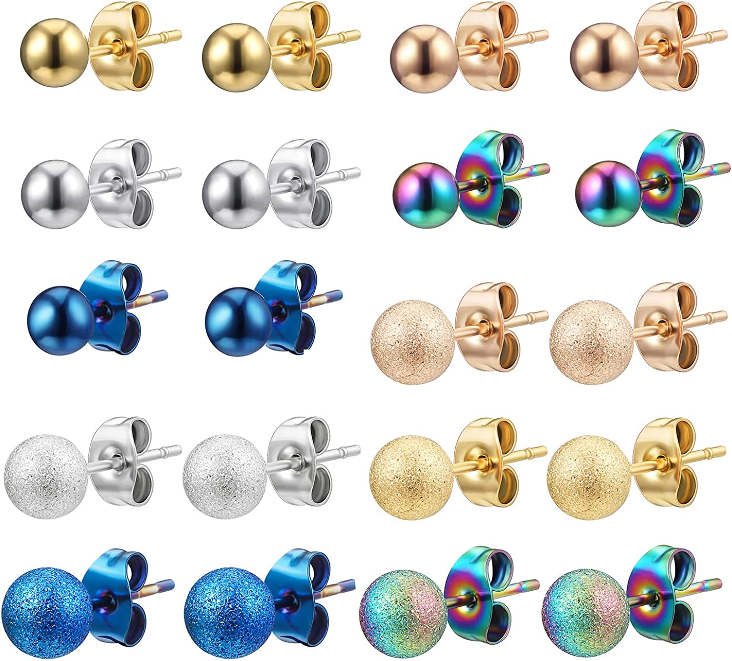 Ball Stud Earrings for Women Men Girls Statement Hypoallergenic Surgical Steel Cartilage Tragus Earrings 10 Pairs