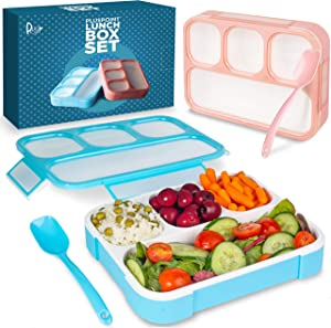 Leakproof Bento Lunch Box Set With 4 Compartments   2 Food Prep & Meal Planning Containers For Kids And Adults   BPA Free   Microwave, Dishwasher and Freezer Safe By PlusPoint
