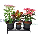 D&V Engineering Metal 1-Tier Indoor/Outdoor Flower Pot Stand, Plant Stand, Kitchen Shelf Stand for Home Decor, Office, Garden, Balcony Decor (Black, 1-Piece)