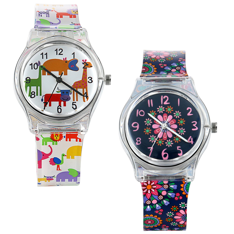 Lancardo 30M Waterproof Kids Transparent Jelly Watch Japan Citizen Quartz Animal Flower Print (2PCS)