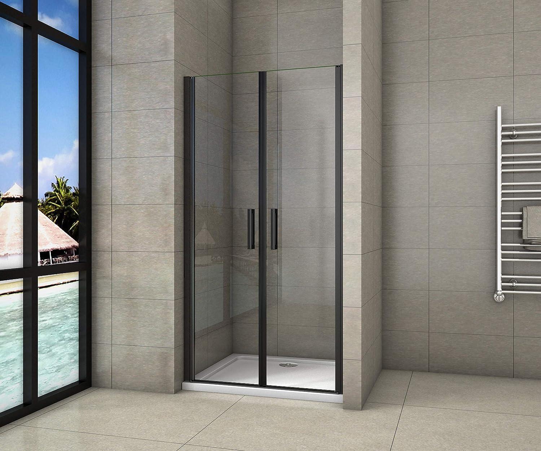 Cabina de ducha de nicho de 90x200cm,dos puertas giratorias, perfiles negros mate,vidrio de seguridad, antical,transparente de 8mm
