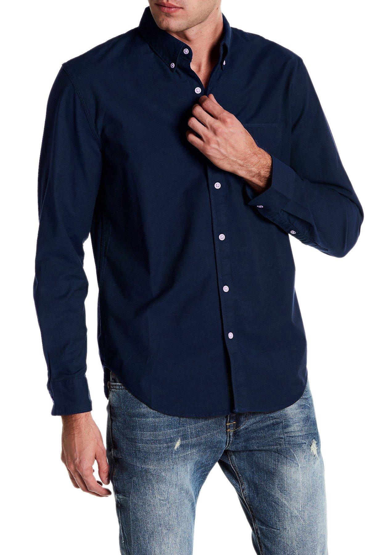 Lucky Brand Saturday Stretch Military Oxford Shirt (Medium)