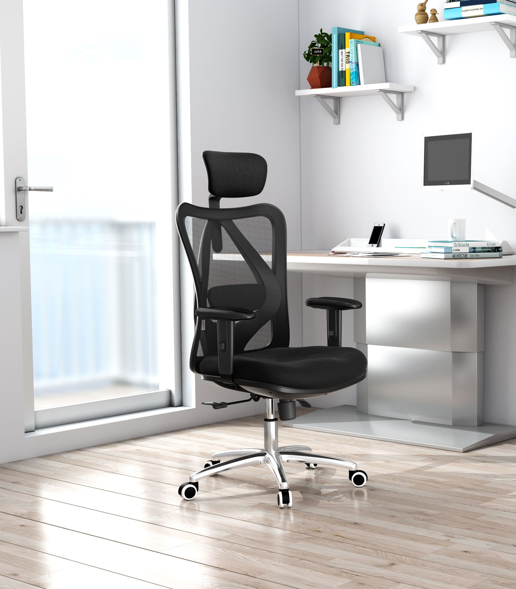 Sihoo Ergonomics Office Chair Computer Chair Desk Chair, Adjustable Headrests Chair Backrest and Armrest's Mesh Chair (Black) by SIHOO (Image #2)
