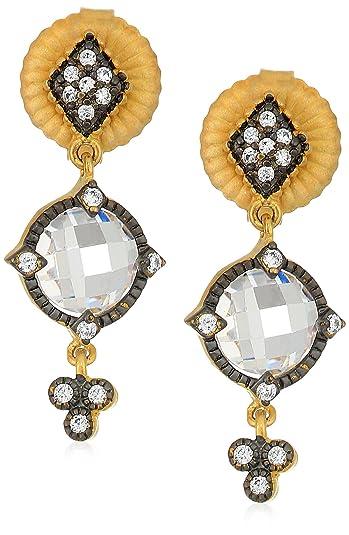db97adbfa Freida Rothman Womens Signature Mirror Stone Drop Earrings, Black & Gold,  ...