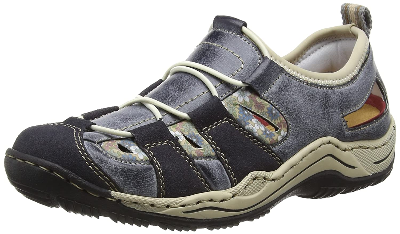 Rieker L0561, Zapatillas para Mujer 43 EU|Azul - Bleu (Navy/Atlantic/Kornblume/Beige / 14)