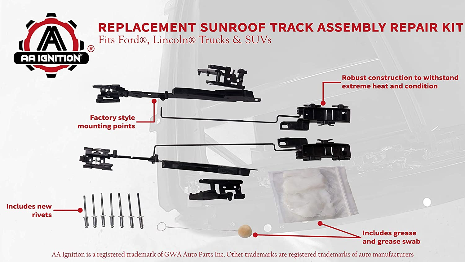 Duolctrams Sunroof Track Assembly Repair Kit for Ford F150 F250 ...