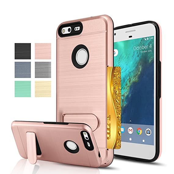 the latest 0b975 d1937 AnoKe Google Pixel Case, [Credit Card Slots Holder][Not Wallet] Kickstand  Hard Plastic PC TPU Soft Hybrid Shockproof Heavy Duty Protective Holster  for ...