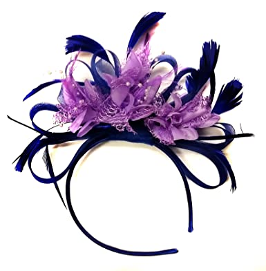 Navy Blue and Lilac Purple Feather Hair Fascinator Headband Wedding ... ae6bb842d0b